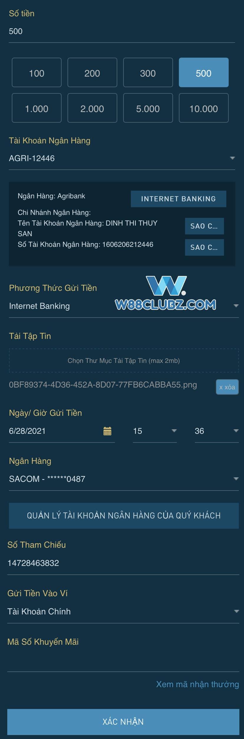 Hoan tat thong tin gui tien W88